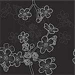 Vector illustration of black seamless pattern with wildflowers