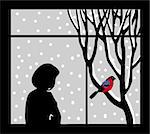vector silhouette of the woman against window Stock Photo - Royalty-Free, Artist: basel101658                   , Code: 400-04861150