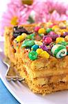 Peruvian colorful cake called Turron flavored with anis, sesame, dried fruits and honey and garnished with colorful sweets on top (Selective Focus, Focus on the front tip and the green ball on top) Stock Photo - Royalty-Free, Artist: ildi                          , Code: 400-04861543