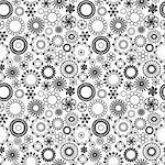 Black and white floral seamless background Stock Photo - Royalty-Free, Artist: hibrida13                     , Code: 400-04862267