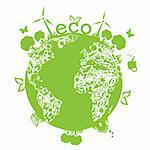 Eco symbols in green world Stock Photo - Royalty-Free, Artist: soleilc                       , Code: 400-04862430
