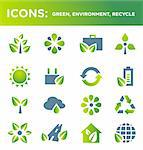 Vector green icon set on the themes: Recycle, Environment, Ecology, Green. Detailed vector illustration of environment symbols isolated on a white background, easy to edit