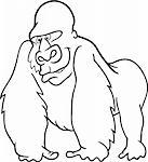 cartoon illustration of silver gorilla for coloring book Stock Photo - Royalty-Free, Artist: izakowski                     , Code: 400-04868221