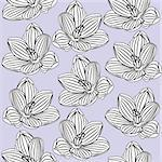 Seamless floral pattern with black-and-white flowers. Vector illustration
