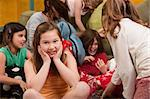 Little girl smiles at a sleepover with friends Stock Photo - Royalty-Free, Artist: creatista                     , Code: 400-04869580