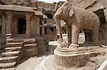 Elephant statue in the courtyard of an ancient Jain Temple (Indra Sabha). Cave number 32, Ellora Caves, near Aurangabad, India. 10th - 12th Century AD Stock Photo - Royalty-Free, Artist: jeremyrichards                , Code: 400-04870466