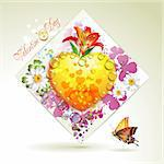 Valentine's day card. Heart and butterflies over springtime background Stock Photo - Royalty-Free, Artist: Merlinul                      , Code: 400-04870540