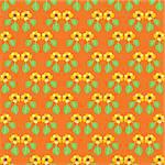 Handpainted seamless vector pattern with yellow flowers and green leaves on an orange background