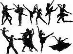 ballet silhouette collection - vector