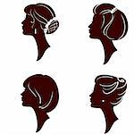 vector beautiful women and girl silhouettes with different hairstyle, set