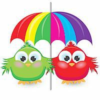Two cartoon sparrow under the colorful umbrella. Illustration on white background Stock Photo - Royalty-Freenull, Code: 400-04872762