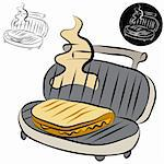 An image of a panini press sandwich maker line drawing. Stock Photo - Royalty-Free, Artist: cteconsulting                 , Code: 400-04873368