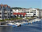 housing on a river with marina in front, Norway Stock Photo - Royalty-Free, Artist: Rigamondis                    , Code: 400-04874506