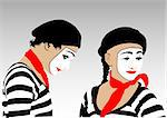 Vector image of people dressed in clown Stock Photo - Royalty-Free, Artist: grynold                       , Code: 400-04874593