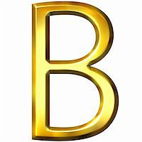 fancy letters - 3d golden letter B isolated in white Stock Photo - Royalty-Freenull, Code: 400-04876478