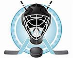 Emblem with goaltender helmet, hockey sticks and puck Stock Photo - Royalty-Free, Artist: lazarev                       , Code: 400-04877384
