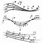 Various music notes on stave Stock Photo - Royalty-Free, Artist: soleilc                       , Code: 400-04878292