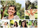 Collage of young women in a park Stock Photo - Royalty-Free, Artist: 4774344sean                   , Code: 400-04881468