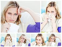 Collage of a young sick woman Stock Photo - Royalty-Freenull, Code: 400-04881471