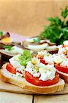 snacks sandwiches with tomatoes and goat cheese Stock Photo - Royalty-Free, Artist: Dream79                       , Code: 400-04885653