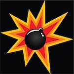 illustration of a cartoon bomb with explosion Stock Photo - Royalty-Free, Artist: ainsel                        , Code: 400-04886064