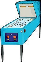 pinball - Illustration of a generic design pinball machine with blank skin Stock Photo - Royalty-Freenull, Code: 400-04886124