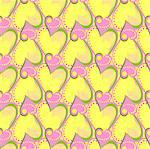 vector seamless pattern with pink and yellow hearts