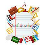 Back to school objects on a sheet of paper