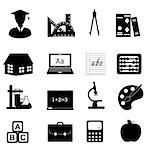 Education and school related symbols icon set