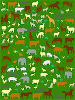 collection of different color  animals silhouette - vector Stock Photo - Royalty-Freenull, Code: 400-04887338