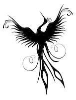 frbird - Black phoenix bird figure isolated over white. Re-birth concept. Stock Photo - Royalty-Freenull, Code: 400-04890221