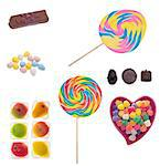 Assorted Candies and Sweets Isolated on White with a Clipping Path.