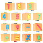 Set of Numbers and Symbols on Foam Blocks Isolated on White with a Clipping Path. Stock Photo - Royalty-Free, Artist: brookebecker                  , Code: 400-04892274