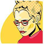 Pop Art Woman comic book style with dot Stock Photo - Royalty-Free, Artist: icons                         , Code: 400-04892971