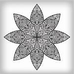 vector hand drawn abstract flower, monochrome Stock Photo - Royalty-Free, Artist: alexmakarova                  , Code: 400-04893189