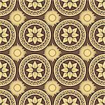 Retro seamless circle background. Vintage wallpaper. Texture royal vector illustration. Pattern baroque style. Stock Photo - Royalty-Free, Artist: svetap                        , Code: 400-04894132