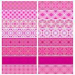 Pink trim or border collection over white background Stock Photo - Royalty-Free, Artist: karanta                       , Code: 400-04894851