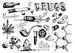collection of drugs isolated on the white background