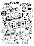 hand drawn icons from computer history isolated on the white background Stock Photo - Royalty-Free, Artist: jonnysek                      , Code: 400-04895357