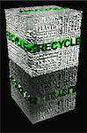 Cube with Recycle words related and recycle word highlight in green and black background Stock Photo - Royalty-Free, Artist: marphotography                , Code: 400-04897075