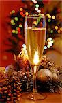 glass of champagne over new year decoration Stock Photo - Royalty-Free, Artist: simply                        , Code: 400-04897255