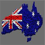 Australia flag mounted with blocks over the country boundary Stock Photo - Royalty-Free, Artist: marphotography                , Code: 400-04897305