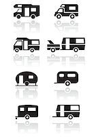 Caravan or camper van symbol vector illustration set. All vector objects are isolated and grouped. Colors and transparent background color are easy to adjust. Stock Photo - Royalty-Freenull, Code: 400-04897609