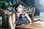 Fashion woman retro portrait in a restaurant Stock Photo - Royalty-Free, Artist: GoodOlga                      , Code: 400-04899032