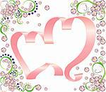 Two gentle rose ribbon hearts on a white background with floral decoration. Also available as a vector in Adobe Illustrator EPS format, compressed in a zip file. The vector version can be scaled to any size without loss of quality. Stock Photo - Royalty-Free, Artist: shponglerrr                   , Code: 400-04899087