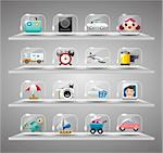Cute travel icons collection,Transparent glass button Stock Photo - Royalty-Free, Artist: notkoo2008                    , Code: 400-04899972