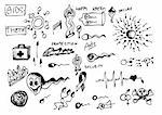 hand drawn sex icons isolated on the white background