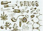 hand drawn drugs symbols on the school paper Stock Photo - Royalty-Free, Artist: jonnysek                      , Code: 400-04900943