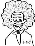 einstein head with his theory as hair Stock Photo - Royalty-Free, Artist: jonnysek                      , Code: 400-04900947