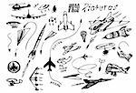 hand drawn  flying vehicles isolated on the white background Stock Photo - Royalty-Free, Artist: jonnysek                      , Code: 400-04900949